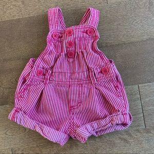 3/$10 OSHKOSH Baby girl overalls 6m